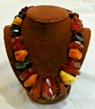 Chunky Beaded Necklace Large Vintage Amber