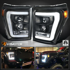 For Black 2011-2016 Ford F250 F350 F450 SuperDuty LED DRL Projector Headlights