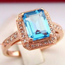 Genuine Natural Diamonds Blue Topaz Solid 9ct Rose Gold Engagement Wedding Rings
