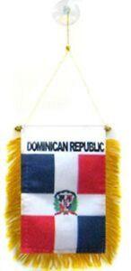 "Dominican Republic Mini Flag 4""x6"" Window Banner w/ suction cup"
