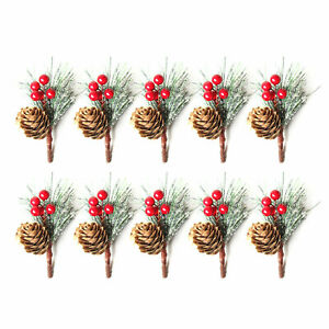 10X Artificial Flower Christmas Red Berry Pine Cone Holly Branch Home Decor UK
