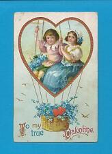 CHILDREN In HOT-AIR BALLOON On Cute Vintage VALENTINE Postcard