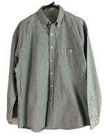 Vintage Eddie Bauer Button Down Shirt Mens Large Blue Striped Heavy Cotton Euc