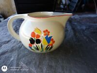 """Vintage Universal Cambridge Circus Floral Camwood Ivory Pottery 6"""" Tall Pitcher"""