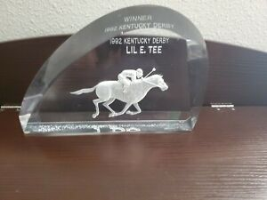 Rare 1992 Kentucky Derby Winner Lil E. Tee Lucite Sculpture Michael F Cox
