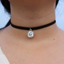 NEW One Dime Coin Pendant Silver Charm Black Choker Necklace Chain Punk Jewelry