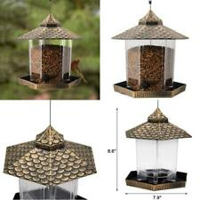 Hanging Wild Bird Feeder for Garden Outside Decoration, Hexagon Easy to Fill