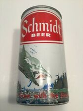 New listing Vintage Schmidt's nature scene aluminum beer can with pull tab bottom open trout