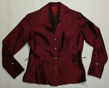 WOMEN'S 4 PETITE, BURGUNDY, BUTTON DOWN SHIRT BY JS COLLECTIONS!