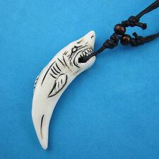 Simulation bone carving Shark tooth Pendant Necklace RH130