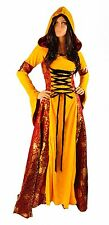 Renaissance Medieval Gothic Yellow Gold Dress Corset Satin Costume S M Tudor Red