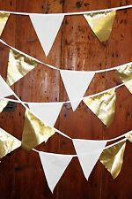 Fabric bunting gold & ivory flags golden wedding anniversary 10m R
