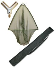42 INCH GREEN CARP LANDING NET WITH METAL SPREADER BLOCK + STINK BAG