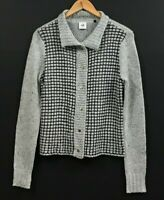 CAbi Women's Gray Square Stitch Snap Front Cardigan Sweater Style 3006 sz S