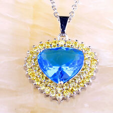 Fashion Jewelry Aaa Silver Necklace Pendant Heart Gift Yellow Citrine Blue Topaz