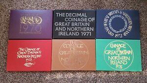 6 x UK  Royal Mint BUNC sets 1970 to 1975