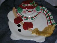 Fritz and Floyd Ceramic Snowman Cookie Plate