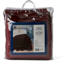 House & Home Queen Faux Mink Blanket - Cabernet