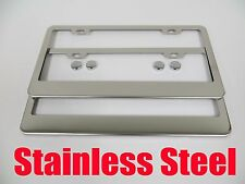 2pcs PLAIN Blank STAINLESS STEEL License Plate Frame front&rear lincoln2c