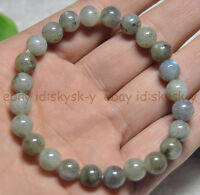 Real Labradorite 8MM Natural Gemstone Round Beads Stretch Bracelets 7.5inches