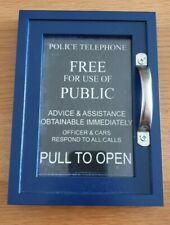 More details for doctor who mini tardis replica door version 2 black a6 size  with wooden frame