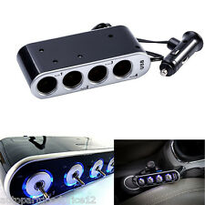 4 Way Multi Socket Car Cigarette Lighter Splitter USB Charger Adapter DC 12/24V