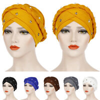 Braid Islamic Prayer Hat Wrap Hijab Chemo Cap Women Muslim Turban Headscarf Wrap