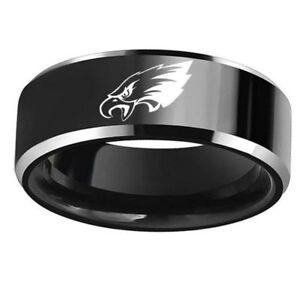 Philadelphia Eagles Football Ring Titanium Stainless Steel Black 7 8 9 10 11 12