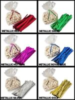 """100 Metallic Twist Ties 3/16"""" Wide 27 Gauge Single Wire CHOOSE 4"""" or 6"""" & COLOR"""