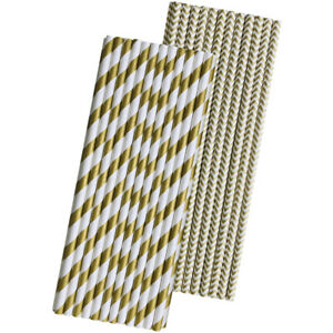 50 Gold Stripe and Chevron Paper Straws