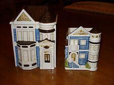 Vintage Otagiri Blue Cream Ceramic Victorian House Canister Napkin Holder Japan
