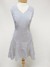 Derek Lam 10 Crosby White Blue Black Stripe Sleeveless Fit Flare Dress