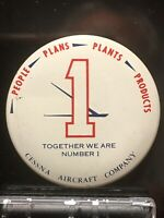 """1974 CESSNA AIRCRAFT COMPANY People Plans Plants Products 1.5"""" Pinback Button"""
