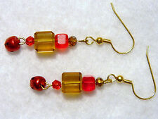 Christmas And Holiday Jingle Bell Pierced Earrings Red and Gold Colors