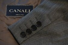 Canali Gray Nailhead Striped 100% Wool 2 Pc Suit Jacket Pants Sz 44S