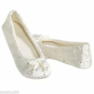 Isotoner Quilted WHITE Satin Wedding Slippers with Rhinestones soft Suede Sole