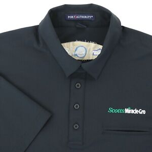 """The Scotts Company Miracle Gro Men XL 49"""" Polo Shirt Black Polyester Stretch"""