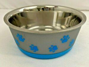 Vibrant Life Pawprints Stainless Steel, Non-Slip Dog/Cat Pet Bowl Medium 24 oz.