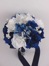 "8""wedding bouquet(bridesmaid,toss,flower girl) shades of blue,white hydrangea"