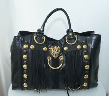 Auth GUCCI Black Leather Suede Fringe Large Babouska Tote Handbag Studs Heart