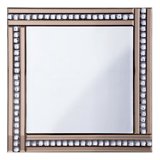 Triple Bar Square Mirror in Bronze & Silver With Crystal Effect Glass Litecraft