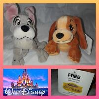 """Disney Lady And The Tramp 2 Scamps Adventure Soft Toy Beanie 7"""" plush bundle"""