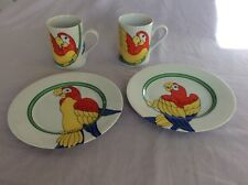 Fitz And Floyd PARROT IN RING - Plates/Mugs - 2 Sets - Style A,B Excellent