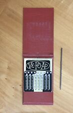 VTG Antique VE-PO-AD Adding Machine with Red Leather Case & Stylus