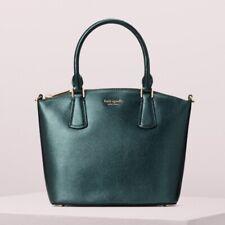 🌸 Kate Spade Sylvia Small Crossbody Tote Leather Deep Evergreen Metallic NEW