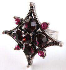 £30 Boho Art Deco Silver Purple Star Adjustable Ring Swarovski Elements Crystal