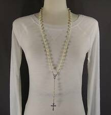 "Cream faux pearl glass bead beaded rosary silver cross 30"" long necklace"