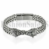 Punk Stainless Steel Bracelet Men's Wolf Head Biker Chain Magnetic Clasp Bangle