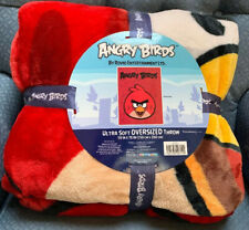 """ANGRY BIRDS OVERSIZED THROW ULTRA SOFT 59"""" X  78"""" BLANKET WOW!!"""