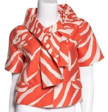 KATE SPADE NEW YORK NEW AUTH $498 Women Short Box Jacket Beige and Orange Size M